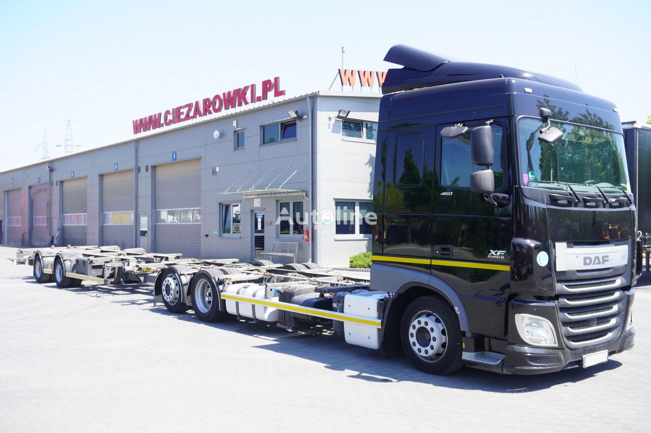 контейнеровоз DAF XF 460 SC , E6 , 6X2 , BDF + Wecon 2 axles trailer , BDF SET + прицеп шасси